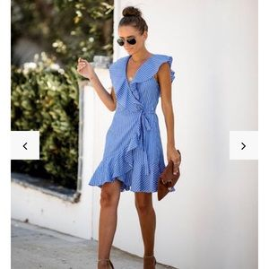 Blue and white stripe wrapped dress